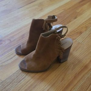 Lucky open toe suede fringe boot